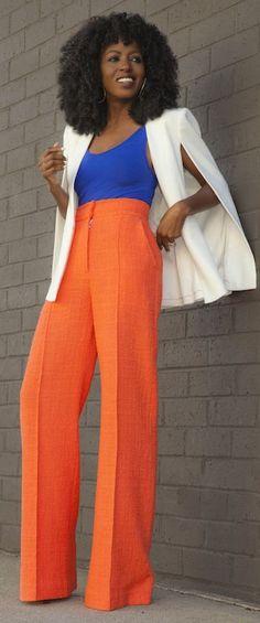 Neon Orange Wide Leg Trousers by Style Pantry / Orange turtle neck, cream wide leg pants & royal blue booties!