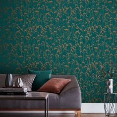 Grace by Graham & Brown - Teal - Wallpaper : Wallpaper Direct Feature Wall Bedroom, Accent Walls In Living Room, Accent Wall Bedroom, Living Room Green, Bedroom Green, Living Room Decor, Teal Wallpaper Living Room, Teal Nature Wallpaper, Living Room Wallpaper Accent Wall