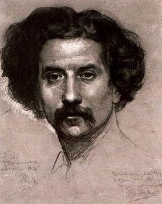 lyghtmylife:  Ramon Martí i Alsina (Spanish Painter1826–1894) Self-portrait, 1870 drawing