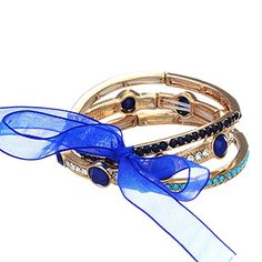 3 Gold Tone Stretch Bracelets Featuring Blue, Navy, and Imitation Turquoise Tone Cabochons Accented By Crystal Clear Rhinestones JD001 http://www.amazon.com/dp/B00MOY2QHK/ref=cm_sw_r_pi_dp_l2Exwb1YC0XTT