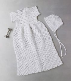 Crocheted Christening Gown And Bonnet. Free crochet pattern.