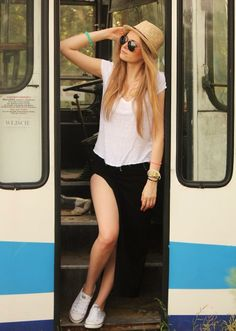 Get this look (skirt, shirt, hat) http://kalei.do/WtiVEP7EU4vlNjgZ