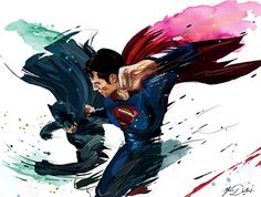 my painting of Batman vs Superman