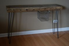 Console table with vintage locker basket