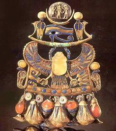 Tut Exhibit - King Tutankhamun Exhibit, Collection: Jewelry - Pectoral with Solar and Lunar Emblems representing King Tutankhamun