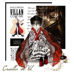 """Cruella de Vil"" by jenesaisquoilifestyle ❤ liked on Polyvore featuring Once Upon a Time, Jenny Packham, Monique Lhuillier, Christian Dior, Harrods, AGNELLE, Christian Louboutin, Halloween, 60secondstyle and villaincostume"