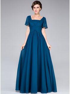 Forme Princesse Encolure carrée Longueur ras du sol Mousseline Robe de mère de la mariée avec Emperler Sequins Robe à volants