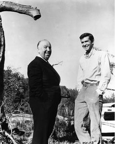 Alfred Hitchcock and Anthony Perkins on the set of Psycho, 1960