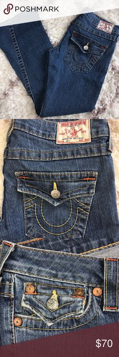 TRUE RELIGION JOEY BIG T FLARE! Size 27! Excellent pre-owned condition! Normal signs of light wear! Please see photos.   Size 27  Inseam 31 Rise  7   Thanks for stopping by! Please follow me as I add new items regularly to my closet!  Make an offer or a bundle for additional savings! True Religion Jeans Flare & Wide Leg