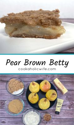 a pear brown betty is similar to a crisp - pears are layered between a graham cracker style crust. #brownbetty #pears #pearbrownbetty