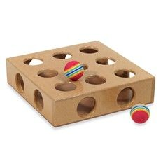 •Durable wood toy box to hide toys inside    •Keeps curious cats mentally and physically sharp    •Works with almost any appropriately sized toy or catnip    •Encourages cat's natural predatory behavior    •Rotate toys for extra fun