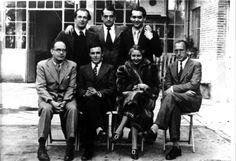 De izquierda a derecha y de arriba abajo, Rafael Alberti, Luis Buñuel, Federico García Lorca, Eduardo Ugarte, el dirigente comunista José Díaz, María Teresa León y el periodista González.