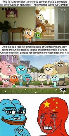 "Picture memes — iFunny This is ""Miracle Staf'. a chinese cartoon that's a complete rip off of Cartoon Networks ""The Amazing World Of Gumball"" And mis is a recently aired episode of Gumball w Really Funny Memes, Stupid Funny Memes, Funny Relatable Memes, Funny Stuff, Cartoon Crossovers, Cartoon Memes, Cartoon Characters, Best Funny Pictures, Funny Images"