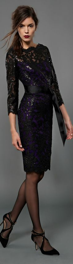 Embroidered Lace Cocktail Dress w A Hint Of Midnight Blue /  Not the heels!