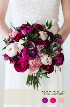 Radiant Orchid + Blush Tones // take out the dark pink flowers if you want… purple flower in the middle is ranunculus
