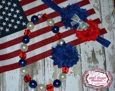Chunky necklace set , necklace and headband set , shabby flower headband , patriotic necklace headband, girls necklace, girls headband on Etsy, $22.50