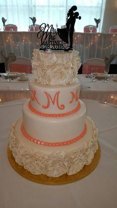 Calumet Bakery Fondant Ruffle with Monogram Wedding Cake
