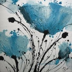 Blue black flower painting