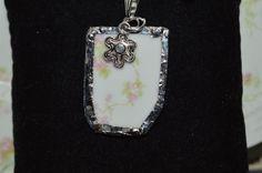 Pink Rose Design Recycled Broken China Handmade Porcelain Pendants SPP39 #unbranded #Floral