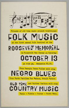 Folk Music Festival Poster, Roosevelt Memorial | Harvard Art Museums