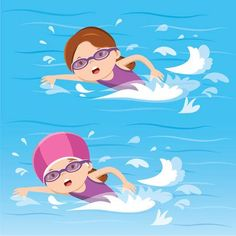 Chica nadando en la piscina Present Tense Verbs, Flashcards For Kids, Competitive Swimming, Human Body Parts, Baby Swimming, English Classroom, Painting Patterns, Drawing For Kids, Kids And Parenting
