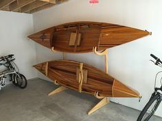 a classic wood storage stand for your classic wood kayaks and canoes