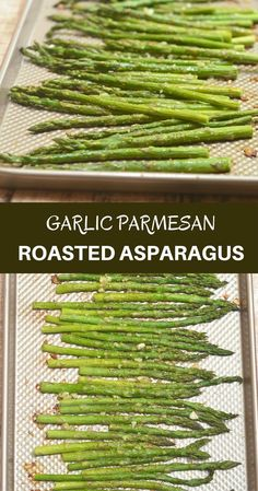 Garlic Parmesan Roasted Asparagus are your next favorite side dish! Tender-crisp and loaded with garlic and Parmesan, they're super easy to make yet absolutely tasty!
