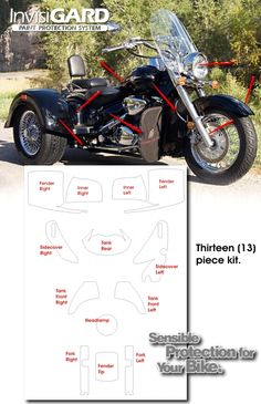 InvisiGARD Invisible Clear Paint and Headlight protection kits for Lehman Trikes