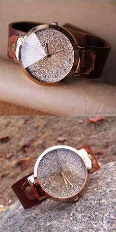 Handmade Shining Rhinestone Leather Watch is a perfect gift for her. #handmade #shining #watch #sequin #gift
