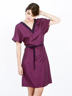 Silk Marsala dress for women. The dress falls loos on the body with a gentle A-shaped widening in the bottom. A narrow dark purple satin band highlights the sleeves. light comfortable dress made of silk fabric, knee length dress with short sleeves and a V-shaped neckline made of a dark purple satin. The dress comes with matching fabric belt - a long thin string for binding around the waist.  Tip from me ♥ The dress will be great even without a belt. If you want to stand out with a stunning…