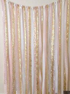 Wedding Ribbon Backdrop pink and gold baby shower! Shower Party, Baby Shower Parties, Bridal Shower, Ribbon Backdrop, Fabric Backdrop, Fabric Garland, Streamer Backdrop, Ribbon Garland, Star Garland