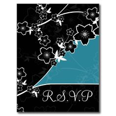 black,turquoise and white Wedding rsvp card Postcards