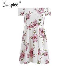 Side Split Off Shoulder Floral Dress