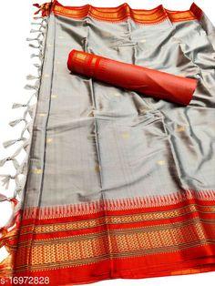 Sarees Hirkal Traditional Paithani Silk Sarees With Contrast Blouse Piece (Grey & Red)  Saree Fabric: Silk Blend Blouse: Separate Blouse Piece Blouse Fabric: Silk Blend Pattern: Woven Design Blouse Pattern: Woven Design Multipack: Single Sizes:  Free Size (Saree Length Size: 5.3 m, Blouse Length Size: 0.8 m)  Country of Origin: India Sizes Available: Free Size   Catalog Rating: ★4 (494)  Catalog Name: Aakarsha Fashionable Sarees CatalogID_2303917 C74-SC1004 Code: 146-16972828-7761
