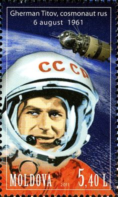 German Titov (1935 – 2000), a Russian cosmonaut, the second human in space. Postage stamp from Moldova. #space #Russian #cosmonaut