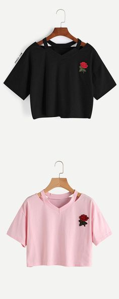 Cut Out V Neckline Rose Patch Slub Tee
