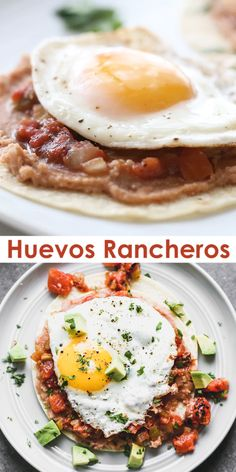 Healthy Breakfast Discover Huevos Rancheros Huevos Rancheros are Mexican style eggs with corn tortillas refried beans and salsa. A delicious healthy breakfast that the whole family loves! Mexican Breakfast Recipes, Healthy Breakfast Recipes, Brunch Recipes, Mexican Food Recipes, Breakfast Beans, Healthy Brunch, Breakfast Muffins, Breakfast Smoothies, Breakfast Casserole