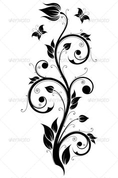 Floral Design Ornament by VVaD Abstract Design Ornament Element with Flowers and Butterflies, Fully editable EPS 8 file.