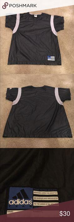Adidas Lightweight Baseball Style Shirt ADIDAS Black & Silver Baseball Style Shirt • Polyester• Similar to Windbreaker • Authentic• Adidas Shirts Tees - Short Sleeve