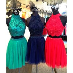 Sherri Hill two-piece cocktail dress. Two-piece short dress with beaded bodice and skirt.