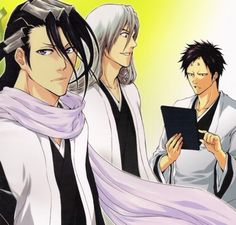 Bleach, Juushirou Ukitake, Byakuya Kuchiki and Akon Bleach Art, Bleach Manga, Departed Soul, Kuchiki Rukia, Bleach Characters, Shinigami, Cute Anime Boy, Manga Pictures, Cosplay