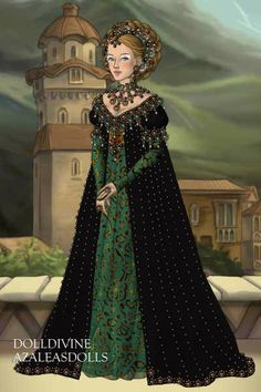 Renaissance green... ~ by Inanna ~ created using the LotR Hobbit doll maker | DollDivine.com