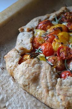 tomato galette with rosemary and goat cheese.