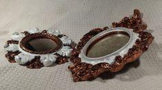 CONTRASTES Marcos decorados con pan de cobre y pintura nacarada, con espejo manchado.