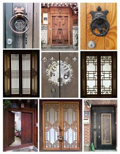 Traditional art displays on doorways in Buk-chon, Seoul