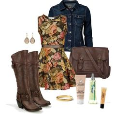 Fall floral dress, jean jacket and boots. Work or school outfit.