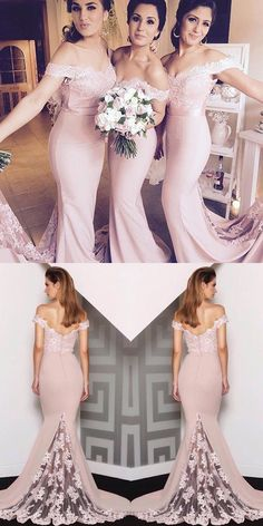 bridesmaid dresses, mermaid pink bridesmaid dresses, elegant off shoulder wedding party dresses