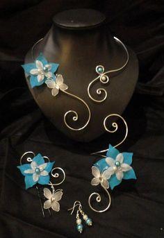 Bracelet mariée, mariage fleur de soie blanc turquoise