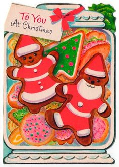 Vintage Greeting Card Christmas Gingerbread Man Cookie Jar