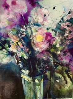 Watercolor Paintings For Beginners, Watercolor Images, Abstract Watercolor, Watercolor Flowers, Abstract Flowers, Art Images, Flower Art, Artist, Florals